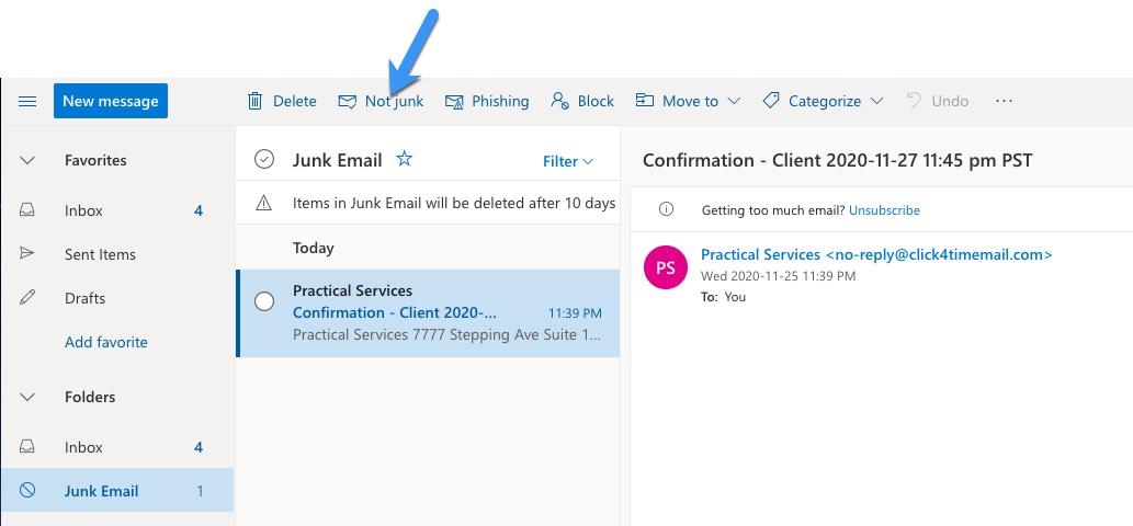 Microsoft Outlook example